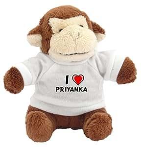 Amazon.com: Monkey Plush Keychain with I Love Priyanka (first name