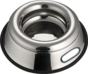 Indipets Stainless Steel Spill Proof - Splash Free No Tip Anti Skid Dish with easy pick up grip handle, 32-Ounce