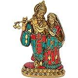 Cosmo Craftvilla Radha Krishna Idol/ Murti/ Statue Multicolor With Flute; Religious Gift ( Brass. W-990gm, H-6inchs )