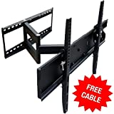 Mount-It! MI-346L Swivel Full Motion Articulating Tilting TV Wall Mount Corner Bracket for 32 - 65 inch Screen LCD LED Plasma 3D Flat Panel Screen TV (VESA Standard up to 600x400mm), With HDMI Cable, 110 lb Weight Capacity, Black