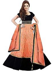 Maxthon FashionWomen's Black & Orange Georgette Embroidery Anarkali Unstitched Free Size XXL Salwar Suit Dress...