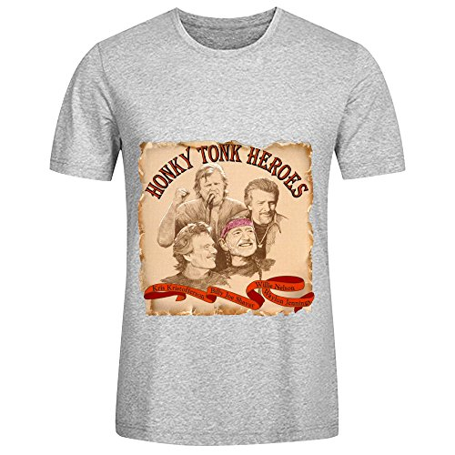 willie-nelson-honky-tonk-heroes-roll-men-round-neck-design-shirts-grey