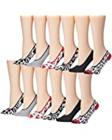 Tipi Toe Women's 12 Pack Colorful Patterned Comfortable Foot Liners