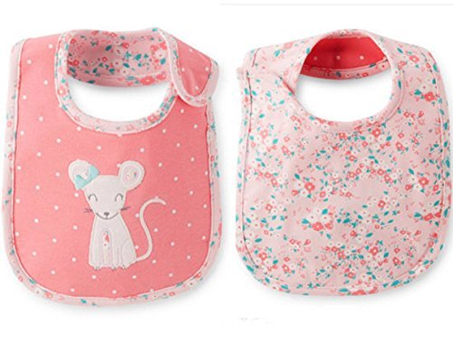Carter's Bib Girl with Three Layer Lining Reversible Mouse Teething Feeding - 1