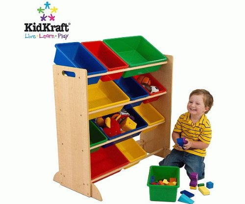 KidKraft Primary Storage Bin Unit Nursery Furniture