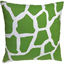 Zoreye Decorative Throw Pillow (154GRNWHT_1818) 18x18 Standard Square Pillow Green, White Giraffe Print