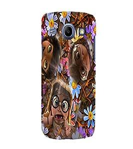 Fuson 3D Printed Funny Faces Designer back case cover for Samsung Galaxy Core I8262 / I8260 - D4284