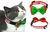 Christmas Santa Reindeer Holiday Collar for Cats With Bowtie, Adjustable 8