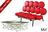 MLF Nelson Marshmallow Sofa + Eames Wire Base Low Table (Sofa: Red Italian Leather, Table: 2 Black Plywood + 2 White Plywood)(18 Combinations)