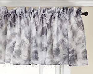 Stylemaster Fusion Tie Dye Rod Pocket Valance with Beaded Trim Chrome, 56 by 17-Inch