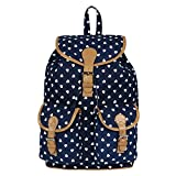 #8: KEN STYLISH CANVAS & LEATHERETTE BACKPACK - BLUE & TAN