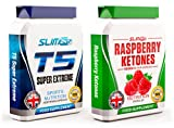 T5 FAT BURNERS x60 + RASPBERRY KETONES x60 - T5 Super Extreme Max Strength Thermogenic Fat Burner and Raspberry Ketone Capsules - Slimming Diet Pills   Suppress Appetite, Boost Metabolism and Increase Energy for Weight Loss