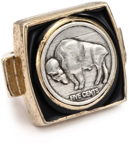 Low Luv by Erin Wasson Buffalo Coin Square Ring, Size 8