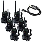 Retevis RT-5R 5W 128CH UHF/VHF 136-174/400-520 MHz Dual Band Dual Standby DTMF/CTCSS/DCS FM Transceiver with Earpiece Ham Amateur Radio Walkie Talkie 2 Way Radio Long Range Black 6 Pack and Programming Cable