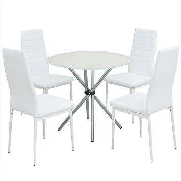 vidaXL Conjunto de 1 Mesas y 4 Sillas de Comedor de Cuero Artificial Blanco