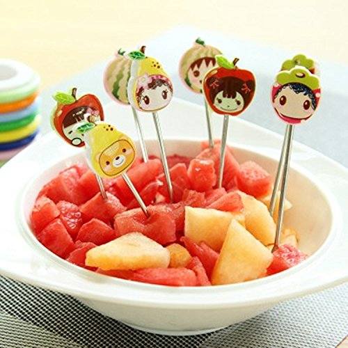 missofsweet Lot de 8Siège Fruit Set pour gâteau fourchettes à cocktail en acier inoxydable avec support