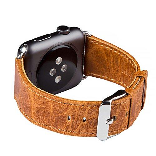 Cinturino per Apple Watch Series 1 & 2, FUTLEX 42mm Ricambio Cinturino (Adattatori inclusi) in Vera Pelle Heritage con Fibbia in Metallo per Apple Watch - Arancione