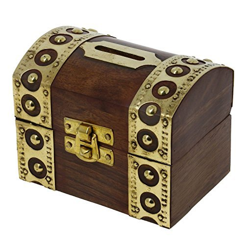 Antique Inspired Money Saving Box Wooden Made Piggy Money Bank