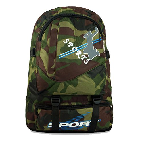 Zerd Nylon Camo Military Camping Hiking Daypack Backpack Camouflage Green front-204035
