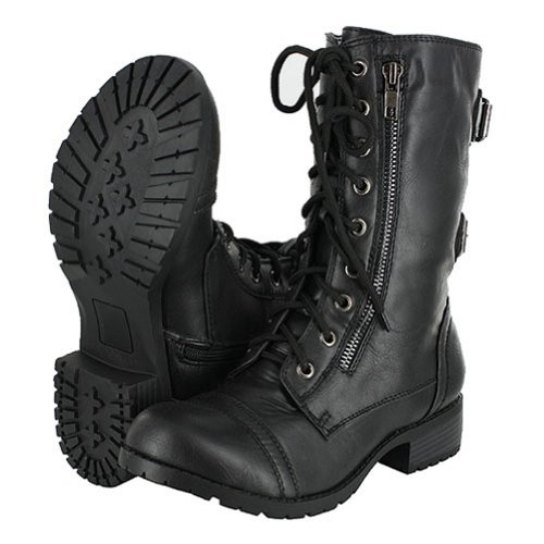 pack 72 womens lace up buckle combat boots