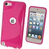 IGadgitz Dual Tone Hot Pink Crystal Gel Skin (TPU) Case Cover for Apple iPod Touch 5th Generation 5G 32GB 64GB + Screen Protector