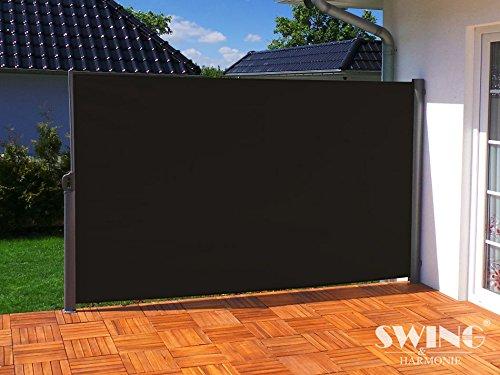 Swing & Harmonie Seitenmarkise Sichtschutz Aluminium Seitenrollo Markise Seitenwand Terasse Balkon (200x300cm, anthrazit)