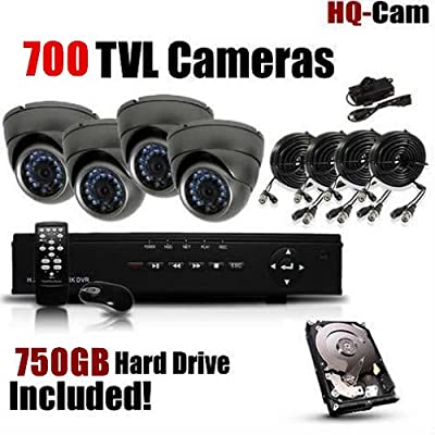 HQ-Cam® 8-Channel H.264 DVR Surveillance Security Package System with 4 x 700 TV Lines Indoor/Outdoor Day Night Vision Cameras For Home Security with Power Suplies and Cables, Pre-Installed 750GB HDD