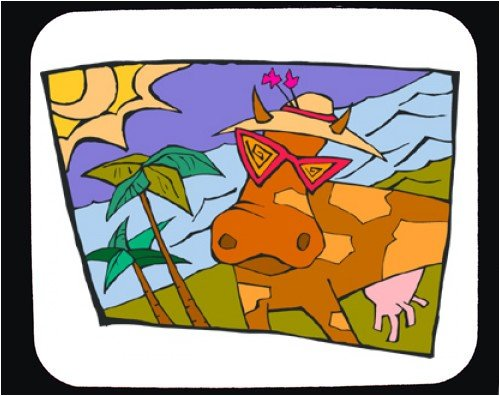 Decorated Mouse Pad with cow, sunglasses, spots, beach, vacation