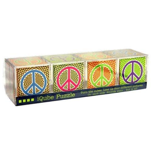 iQube Puzzle - Peace Symbols - 4 Block Brainteasing Puzzle - 1
