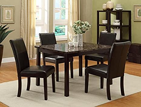 Brand New 5-pc Ferrara Dining Table (w/Marble Top) and 4 Dining Side Chair Set