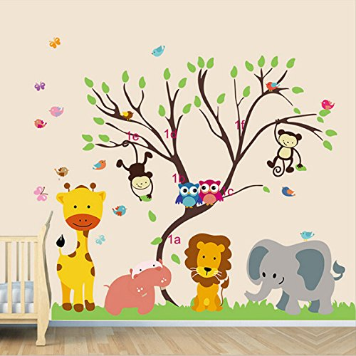 Children Kids DIY Room Removable Jungle Zoo Monkey Tree Owl Bird Vinyl Decal Home Decoration Wallpaper Sticker