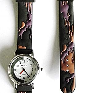 Boys Army Watch - Green 13-17cm 3D Rubber Strap - Easy Read Time Teacher Face