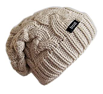 Frost Hats Winter Hat for Women BEIGE Slouchy Beanie Cable