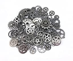 Yueton 100 Gram (Approx 70pcs) Antique Steampunk Gears Charms Clock Watch Wheel Gear for Crafting (Gun Black)