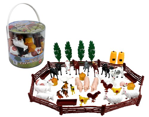 Farm-Animal-Action-Figures-Big-Bucket-of-Farm-Animals-50-pieces-in-set