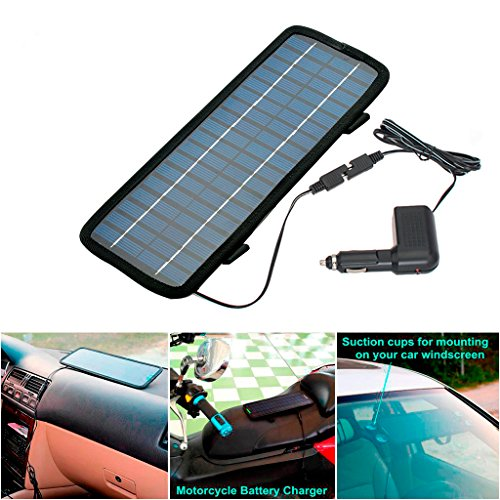 CHAMPLED 4.5W Watt 12V Car Battery Charger Solar Power Panel + Cigarette adapter with cord For FORD CHRYSLER CHEVY CHEVROLET DODGE CADILLAC JEEP GMC PONTIAC HUMMER LINCOLN BUICK (Multi Purpose Car Battery Charger compare prices)