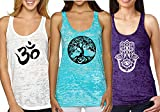 Yoga Tank Top - Burnout Racerback Pack of 3 (Small, 1d Pack)