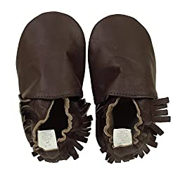 Ministar Boy or Girl Baby Infant Toddler Prewalker Leather Soft Sole Crib Shoes - Mocassin Large 12-18 mo.