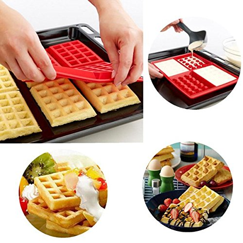 Yongse 4-Cavity Mini Gaufres Gâteau au chocolat Pan Silicone DIY Plateau Mold Mould
