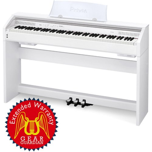 Casio Privia Px-750 88-Key Digital Piano With Gear Guardian Extended Warranty - White