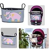 Para bebés Homgaty a carrito de paseo organizador de la rejilla para carrito de bebé colgante con texto en inglés bolsa para la compra de múltiples conexiones de la marina de guerra de almacenamiento de bolsa para la compra Elephant Pattern
