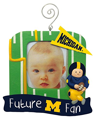 Michigan Wolverines Official NCAA 5.25 inch x 5 inch x 2.5 inch Future Fan Photo Frame Christmas Ornament