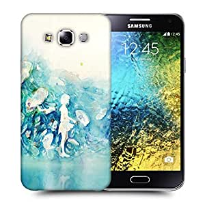 Snoogg Watercolor-Blue-Girl Printed Protective Phone Back Case Cover ForSamsung Galaxy E5
