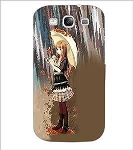 PrintDhaba Umbrella Girl D-5033 Back Case Cover for SAMSUNG GALAXY S3 (Multi-Coloured)