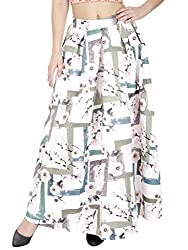 SVT ADA COLLECTIONS WHITE COLOR SATIN PRINTED LONG SKIRT (044406A_White_FS)