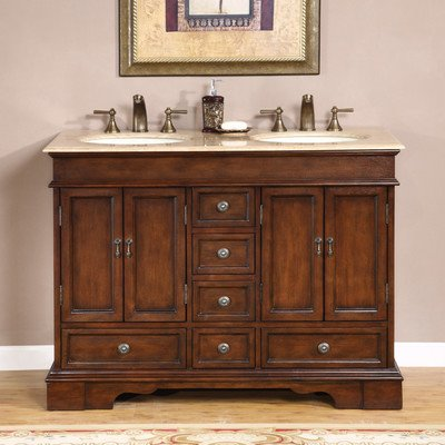 48 In. Ashley Double Sink Bathroom Vanity In Red Chestnut (Travertine Stone)