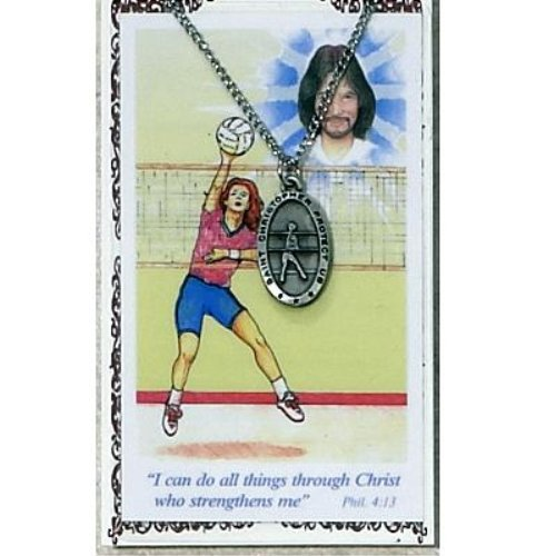 Girls Volleyball Pewter Medal Prayer Card Catholic Sports Pendant Charm Christian