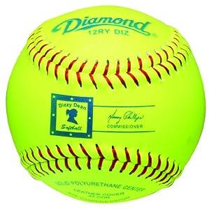 Diamond 12-Inch Optic Leather Cover Dizzy Dean Softball, Dozen by Diamond Sports