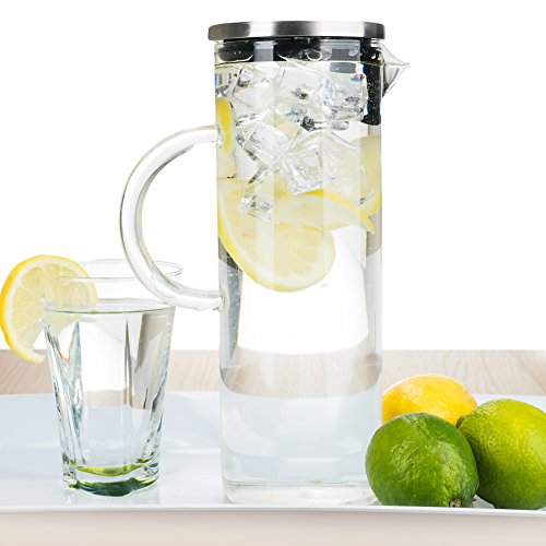 bobuCuisine's Elegant Chill Water Pitcher - Stunning Scandinavian Design - Premier Quality Borosilicate Glass Pitcher - Stainless Steel Lid - 1300ml/44oz (Antique Pitcher And Basin compare prices)