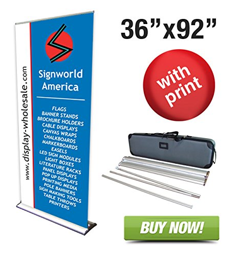 "Signworld 36"" Hd Retractable Roll Up Banner Stand Trade Show Display With Vinyl Print Included 36"" X 92"""